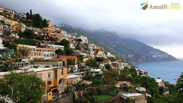 wine tour on the amalfi coast: view of the town of positano